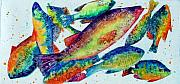 Rainbow Fish Paintings - Somethings Fishy by Marsha Elliott