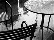 Patio Table And Chairs Posters - Sometimes it Rains Poster by Anne McDonald