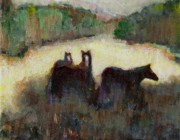 Horses Paintings - Sometimes We Need To Get Out of The Heat by Frances Marino