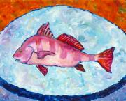 Steel Drum Prints - Somewhat black drumfish Print by Popo  Flanigan