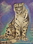 Wildlife Mixed Media Originals - Somewhere a Snow Leopard Listens by Blaze Warrender