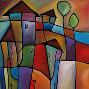 Large Abstract Acrylic Paintings - Somewhere Else - Abstract Pop Art by Fidostudio by Tom Fedro - Fidostudio