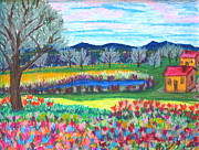 Village Pastels Prints - Somewhere Else Print by Kerry  Bennett