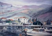 Greece Watercolor Paintings - Somewhere in Greece by George Siaba
