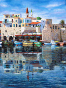 Mediterranean Landscape Drawings Framed Prints - Somewhere in the Mediterranean Framed Print by Miki Karni
