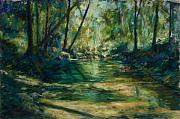 Riverbank Pastels Posters - Somewhere Near Austin Poster by Billie Colson