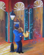 French Quarter Paintings - Somewhere on Bourbon Street by Valerie Chiasson-Carpenter