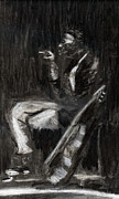 Music Legend Drawings Originals - Son House in Charcoal by Denny Morreale