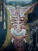 Pig Paintings - Son of Ham or How do you like your Francis Bacon? by Jonathan E Raddatz