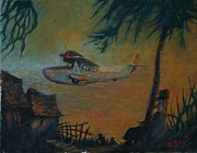 Vintage Aircraft Paintings - Song in the Wind by William Bezik