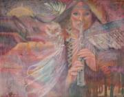 Pinks Pastels Posters - Song Of Our Sacred Dreaming Poster by Pamela Mccabe