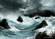 Lighthouse Digital Art Originals - Song Of Storms And Lighthouse by Arin Rajawali