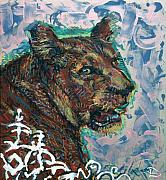 Lioness Mixed Media Posters - Song of the Lioness Poster by Lowell Devin