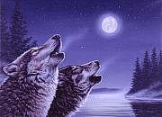 Wolf Howling Paintings - Song of the North by Richard De Wolfe