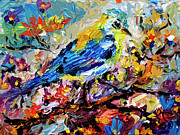 Warbler Mixed Media Metal Prints - Songbird Blue In A Tree Metal Print by Ginette Callaway