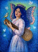 Angel Art Painting Originals - Songbird for a Blue Muse by Sue Halstenberg