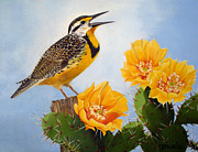 Meadowlark Paintings - Songs of the Meadowlark by Donna Francis