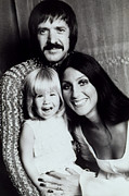 Sonny Bono Prints - Sonny & Cher With Daughter Chastity Print by Everett