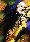 Sonny Prints - Sonny Rollins Groovin The Sax Print by Ted Azriel