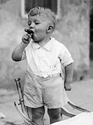 Baby Boy Framed Prints - Sonny Smokes A Cigar Framed Print by Fpg