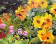 Napa Valley Vineyard Paintings - Sonoma Garden August by Deborah Cushman