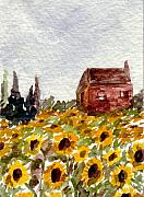 Wine Country Watercolor Paintings - Sonoma Hillside Series Sunflowers by K Hoover