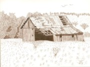 Barn Pen And Ink Drawings Prints - Sonora Barn Print by Pat Price