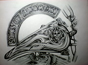 Harley Davidson Drawings - Sons of Anarchy by Charles Johnson Jr