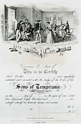 Political Cartoon Framed Prints - Sons Of Temperance Certificate Framed Print by Photo Researchers
