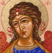 Russian Icon Painting Posters - Sophia As Gabriel Poster by Kathryn Gordon