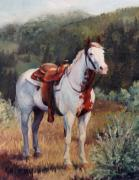 Pinto Paintings - Sophie Flinders Paint Mare Horse Portrait Painting by Kim Corpany
