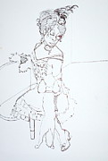 Dancers Drawings Prints - Sophiea and Lu lu Print by Joanne Claxton