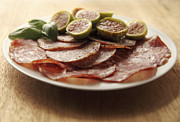 Figs Framed Prints - Sopressata and Salami with Figs Framed Print by Ruby Hummersmith