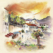 Townscape Drawings Framed Prints - Sorbas in Spain 02 Framed Print by Miki De Goodaboom