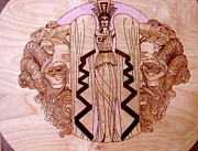 With Pyrography Originals - Sorceress-ramsheadnorthwind by Rj Schiller-artbyfire