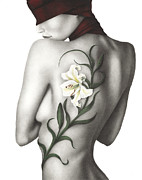 Watercolor Nude Posters - Sorrow Poster by Pat Erickson