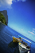 Landscape Mountain Trees Fisherman Art - Soufriere Bay by Daniel Marcion