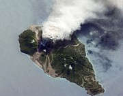 Rising From Earth Prints - Soufriere Hills Eruption, Iss Image Print by Nasa