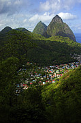 Sea Shore Posters - Soufriere Village- St Lucia Poster by Chester Williams