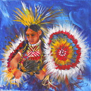 Summer Celeste Painting Posters - Souix Dancer Poster by Summer Celeste
