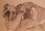 Dogs Drawings - Soul Mates by Victoria Kader
