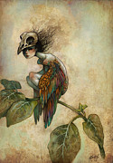 Leaves Digital Art Posters - Soul of a Bird Poster by Caroline Jamhour