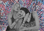 Pencil Portrait Art - Soul Sisters 1 by Meghan Oona Clifford
