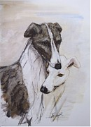 Brindle Painting Prints - Soulmates Print by Ron Hevener