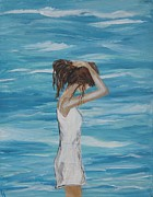 Woman In Water Painting Posters - Sound of Solitude Poster by Leslie Allen