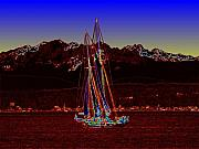 Red Mountains Prints - Sound Sailin 4 Print by Tim Allen