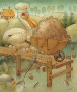Lake Drawings Posters - Soup in the Lake Poster by Kestutis Kasparavicius