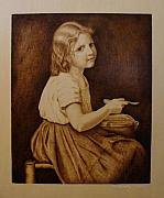 Sepia Pyrography Originals - Soup by Jo Schwartz