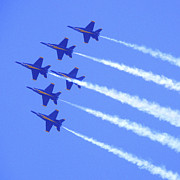 Air Force Metal Prints - Souring with the Blue Angles Metal Print by Mike McGlothlen