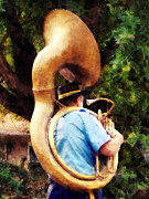 Bands Prints - Sousaphone Marching Away Print by Susan Savad